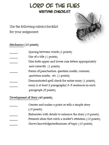 Worksheets Lord Of The Flies Vocabulary Worksheet english 10b mrs hasleys webpage rubric for essay